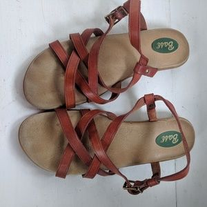 Bass  Brown Leather Sandals Summer Shoes Flat 8.5